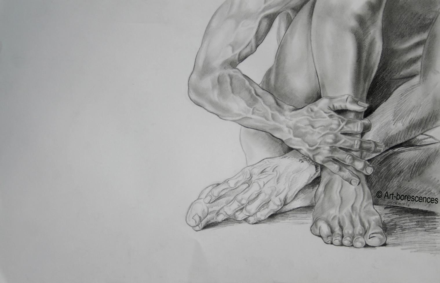 Etude de mains et pieds art borescences mod le vivant - Dessin de mains ...
